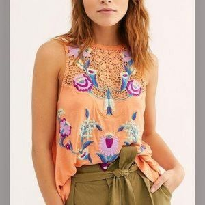 Free People Tops - Free People Flower Power Embroidered Tank Top XS